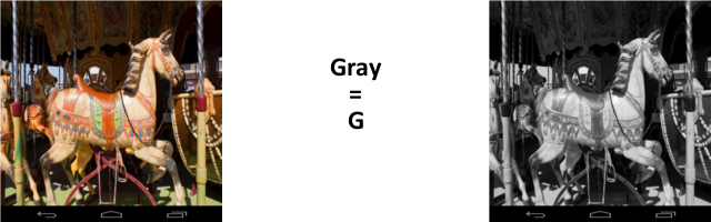 Gray scaling formula using the Green channel.